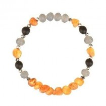 wedding photo - Baltic amber Bracelet with Blue Glass Beads with Handmade