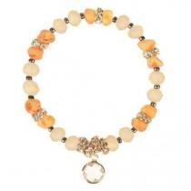 wedding photo - Raw Unpolished Baltic amber Bracelet with Glass