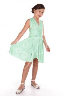 wedding photo - Junior / Mini Bridesmaid Dress Infinity Dress Seafoam Green Convertible Dress Multiway Wrap Flower Girl Dress