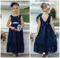 wedding photo - Navy Blue Lace Flower Girl Dress, Bohemian Flower Girl Dresses,  Rustic flower girl dress,Bohemian Flower girl dress,Flower girl dresses