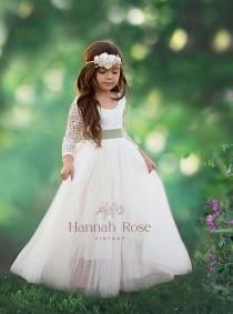 wedding photo - Flower Girl Dress, Beautiful Long Flowing Ivory or White, Boho Vintage Flower Girl Dresses, Girls Dresses, Tulle and Lace Flower Girl Dress