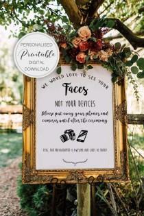 wedding photo - PERSONALISED Unplugged Wedding Sign, Unplugged Ceremony Sign, Printable Wedding Sign, Printable sign, Wedding decoration sign
