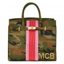 wedding photo - Jane Bag – Camo – Single Racing Stripe + Initials