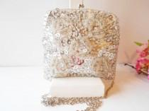 wedding photo - Vintage Silver Evening Bag, Glamorous Silver Beaded Clutch Handbag, Wedding Bridal  EB-0046