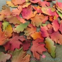 wedding photo - 24 Realistic Autumn & Oak Leaves Gumpaste Edible Cupcake Toppers
