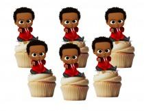 wedding photo - African  Baby in red suit cupcake toppers/ cakepop toppers