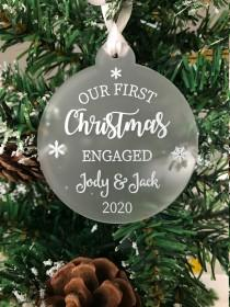 wedding photo - Personalised First Christmas Engaged Couples Tree Frosted Bauble Decoration Wedding Gift