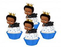 wedding photo - Dark Skinned  Baby cupcake toppers,cakepop toppers,cupcake decors