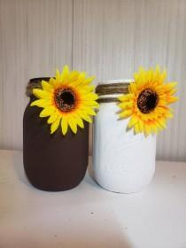 wedding photo - Rustic Sunflower Mason Jar Decor