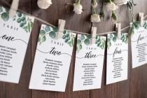 wedding photo - Seating chart cards, Wedding seating cards, Eucalyptus seating chart cards template #EUC020