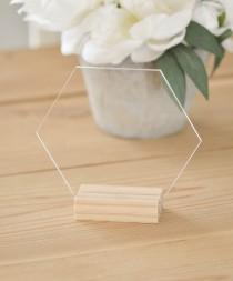 "wedding photo - Blank acrylic table number, 5"" hexagon acrylic sign, blank acrylic, freestanding table number, table decor, blank acrylic signs"