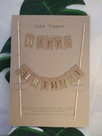 wedding photo - Happy birthday banner, cake topper bunting,  cake topper, cake decoration, birthday cake.