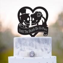 wedding photo - Halloween wedding heart skull cake topper,heart skull wedding cake topper,sugar skull wedding topper,zombie wedding skull cake topper,a331
