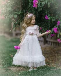 wedding photo - White Flower Girl Dress, Communion Dress, White Lace Dress for Girls, Rustic Flower Girl Dresses, Bohemian Flower Girl Dress, Baby Dress