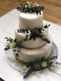 wedding photo - Artifical Flower Cake Decorations, Cake Topper, Wedding Cake  - Set of 3 or small, medium or large - eucalyptus, lavender