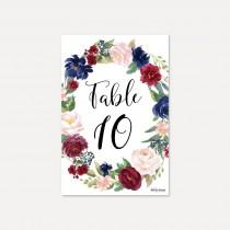 wedding photo - Elegant Navy and Burgundy Wedding Table Numbers Template - DIY Table Numbers for a Wedding, Editable Printable Table Numbers, Digital