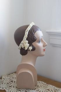 wedding photo - 1920's Braided Wax Flower Headpiece / crown / tiara / orange blossoms