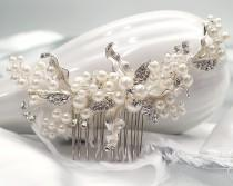 wedding photo - NEW Silver Rhinestone Wedding Hair Comb, Faux Pearl Hair Comb, Crystal Bridal Headpiece, Bridal Hair Comb, Wedding Hair Accessory - 8961