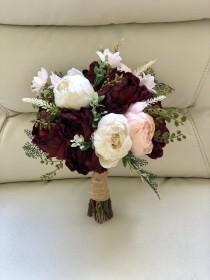 wedding photo - Burgundy and Blush Bouquet, Peony Bouquet, Marsala Bouquet, Burgundy Bouquet, Boho Bouquet, Greenery Bouquet, Blush Peony Bouquet, Cream Peo