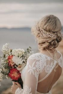 wedding photo - Light Rose Gold Hair Accessory For The Modern Boho Bride, Leaf And Rhinestone Accents