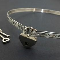 wedding photo - BDSM Submissive Discreet Day & Locking Collar, Chaotic Hearts Sterling Silver Bondage Slave Collar Made To Order #8899