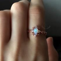 wedding photo - Vintage Opal Ring, Rose Gold Opal Engagement Ring, Natural Opal Ring, Dainty Ring, Sterling Silver, October Birthstone Ring, Women Rings