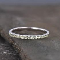 wedding photo - Half Eternity Peridot Wedding Band, 925 Sterling Silver Ring, Gemstone Band, Wedding Ring, Peridot Gold Ring, Pave Band, Gift for her