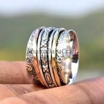 wedding photo - Three Tone Spinner Ring, 925 Silver Ring, Spinner Meditation Ring, Spinner Rings For Women, Multi Spinner, Boho Ring, Perfect Gift For Her