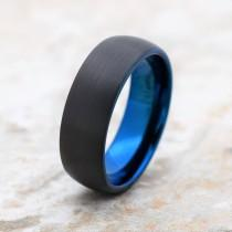 wedding photo - Tungsten Ring, Men's Tungsten Wedding Band, Men's Black Wedding Band, Black Tungsten Ring, Blue Tungsten Ring, Blue Ring, Mens Ring, Blue