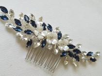 wedding photo - Navy Blue Bridal Hair Comb, Blue Crystal Hairpiece, Wedding Dark Blue Headpiece, Navy Crystal Hair Jewelry, Blue Floral Silver Hairpiece