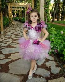 wedding photo - Flower Girl Dress, Floral Ring Bearer Dress, Ball Gown for Kids, Floral Party Dress, Purple Fluffy Tutu, Flower Girl Gown, Purple Ball Gown