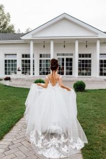 wedding photo - Flower girl dress, Tulle flower girl dress, Flower girl dress lace, White girl dress,Boho flower girl dress, Communion  dress, Toddler dress