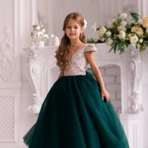 wedding photo - Emerald tulle flower girl dress - gold sequin flower girl dress - tutu dress toddler - birthday girl dress -pageant dress - festive dress