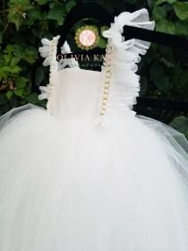wedding photo - Pearl Flower Girl Dress, Tulle Tutu Dresses, Weddings, V Back Plunge, Flutter Sleeve, Full Length Dress, Toddler Dress, Pearls Embellished