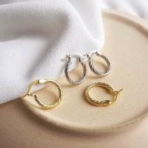 wedding photo - WILLA -  Dainty vintage style gold huggie hoop earrings w/ French spiral twist hoops boho minimalist classic stacking hoop earring stack