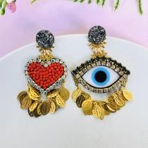 wedding photo - Evil eye earring, heart earrings, protection earrings, Mismatched earrings, unusual earrings, funny earrings, Statement earrings