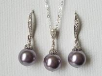 wedding photo - Light Purple Pearl Set, Swarovski Mauve Pearl Earrings&Necklace Set, Light Purple Jewelry Set, Mauve Pearl Earrings, Purple Wedding Jewelry