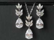 wedding photo - Crystal Bridal Jewelry Set, Wedding Cubic Zirconia Silver Set, Teardrop Crystal Jewelry Set, Bridal Crystal Earrings Bridal Zirconia Pendant