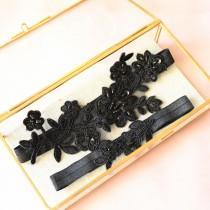 wedding photo - Wedding Garter Set, Black Lace Wedding Garter Set, Black Bridal  Garter Set,Black Toss Garter , Wedding Garter Belt -1830