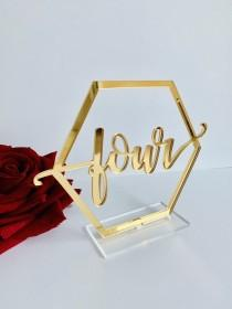 """wedding photo - Gold Mirror Acrylic Table Numbers-Wedding Table Decor- Table Numbers  with base -Please Send your phone number in the """"NOTE to the seller"""""""