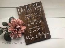 wedding photo - First Day Yes Day Best Day Sign, Love Story Sign Special Dates Sign Wedding Date Sign, Anniversary Gift Bridal Shower Valentines Gift