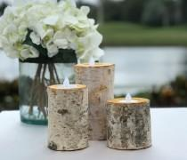 wedding photo - Birch Bark Log Candle Holders - Set of 3 - Votive Tea Light - Rustic Chic - Wedding Centerpiece