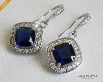 wedding photo - Navy Blue Crystal Bridal Earrings, Blue Silver Crystal Earrings, Bridal Dangle Earrings, Chandelier Wedding Earrings, Bridal Jewelry