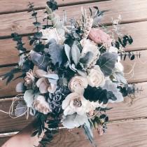 wedding photo - HANNAH'S COLLECTION ~ Sola Wood Flowers ~ Wedding Bouquet ~ Dusty Blue ~ Greenery ~Eucalyptus ~ Custom Bouquet ~ Forever Bouquet ~ Wood