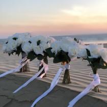 wedding photo - Ivory Rose Garden Stem Bridal Bouquet - Silk Wedding Flower Bouquet Decor (12 stem)