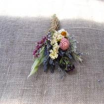 wedding photo - Dusty Pink, Blush, White Sage and Lavender Summer Wildflower Wedding Boutonniere or Corsage in Ivory Sage Pinks Lavender Larkspur and Wheat