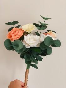 wedding photo - Custom Felt Flower Bouquet, Bridal Bouquet, Wedding Flowers, Design Your Own Custom Bouquet, Floral Arrangement, Faux Flowers