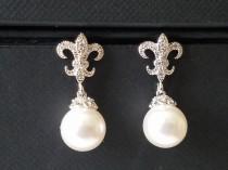 wedding photo - Pearl Bridal Earrings, Swarovski White Pearl Wedding Earrings, Fleur de lis Pearl Silver Earrings, Wedding Pearl Jewelry, White Pearl Studs