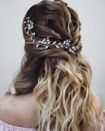 wedding photo - Bridal hair vine  Bridal hair accessories Blue Opal Bridal halo Wedding hair piece Wedding hair Accessories Wedding hair vine