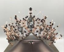 wedding photo - Vintage Black Crown//Bridal Headpiece//Black Crystal Wedding Crown//Bridal Crown//Black Wedding Tiara//Birthday Party Crown//Gothic Crown